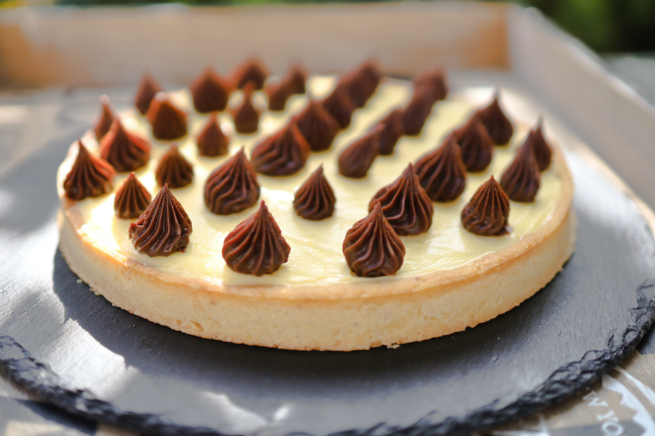 La tarte noisette citron ganache gianduja
